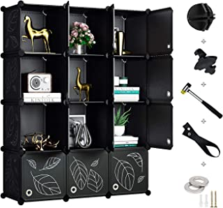 Greenstell 12 Cubes Storage Organizer with Doors,DIY Plastic Stackable Shelves Multifunctional Modular Bookcase Closet Cabinet for Books,Clothes,Toys,Artworks,Decorations (Black)