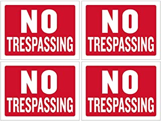 Kicko No Trespassing Sign - 4 Pack - 12 x 16 Inch All-Weather Plastic Coated Tags for Personal Property Signage, Business ...