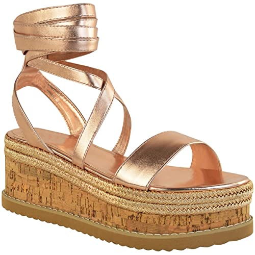 e473da0037e57 Fashion Thirsty Heelberry® Womens Ladies Flatform Cork Espadrille Wedge  Sandals Ankle Lace Up Shoes Size