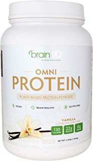 Dr. Amen brainMD Omni Protein Vanilla - 2.38 lbs - Plant-Based Protein Powder, Promotes Energy & Exercise Recovery - Vegan, Vegetarian, Sugar-Free, Gluten-Free - 30 Servings