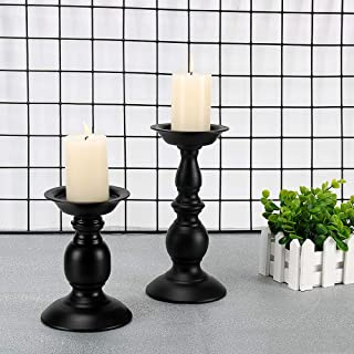 GoMaihe Bougeoirs Decoration Table 2 Pcs Différentes Tailles, Bougeoirs Cylindrique Rétro Chandelier pour Saint Valentin D...