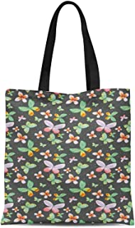 S4Sassy Dot & Printed Canvas Large Tote Bag for Beach Shopping Groceries Books 16x12 Inches