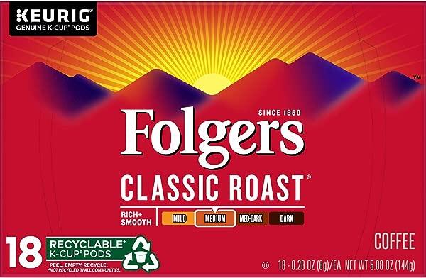 Folgers K Cups Classic Roast Coffee For Keurig Makers Medium Roast 72 Count