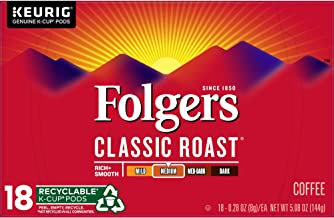 Folgers K Cups Classic Roast Coffee for Keurig Makers, Medium Roast, 72 Count