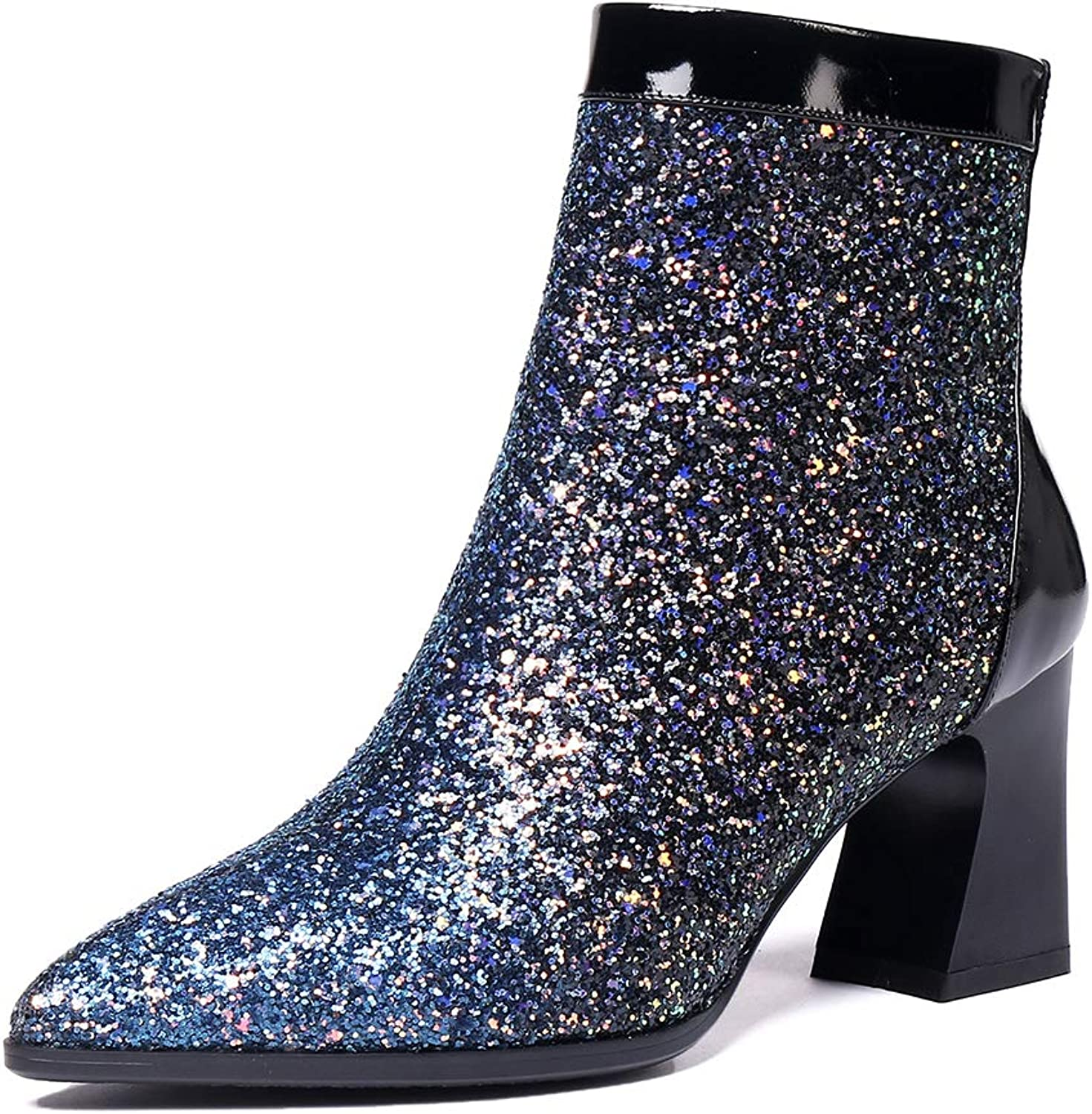 MINIVOG Women's Sequined Boots Pointed Toe Chunky Heel Glitter Booties