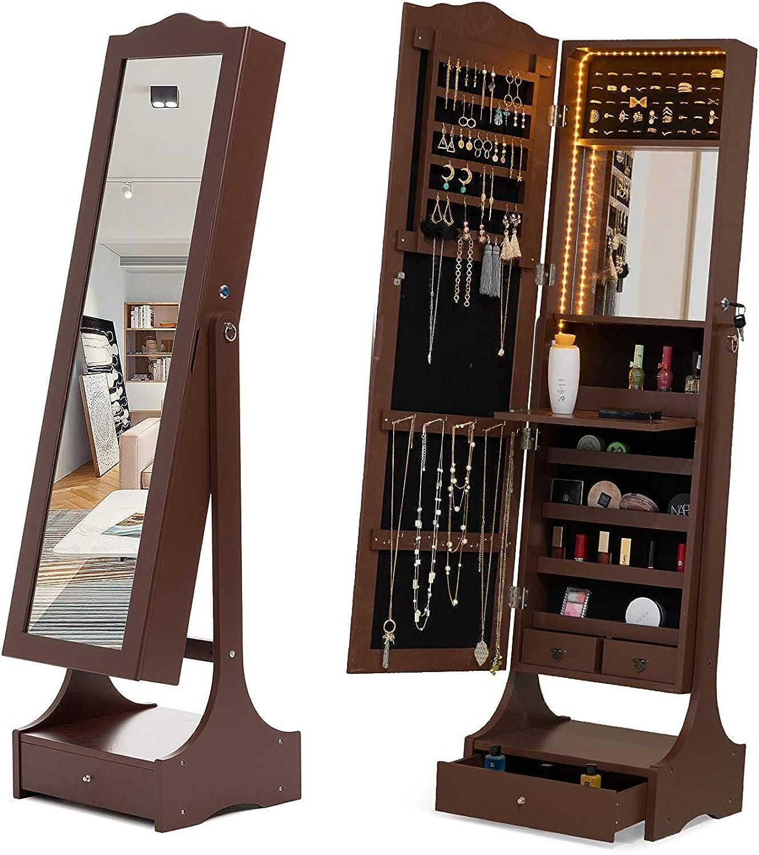 Mecor Schmuckschrank Standspiegel Spiegelschrank Schmuckregal mit LED Beleuchtung abschliebar einstellbar Schmuckkasten