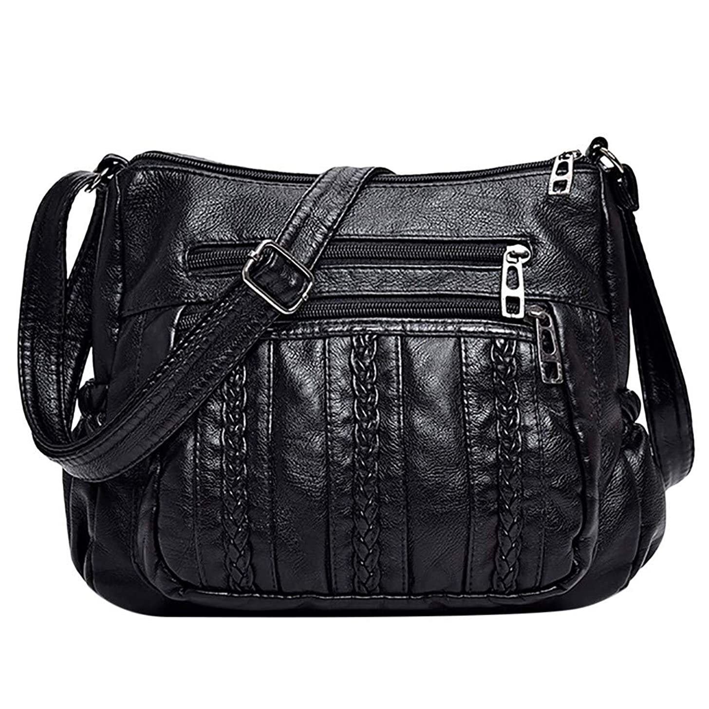 Muti-Pocket Anti-Theft Messenger Bag, Leather PU Shoulder Bag Large Capacity Crossbody Bag with Adjustable Strap by Vielgluck