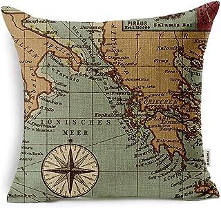 VOGOL Cotton Linen Throw Pillow Case Cushion Cover, Nautical Anchor Sailing Map,18 X 18-Inch for Bedding Sofa Chair Car Seat