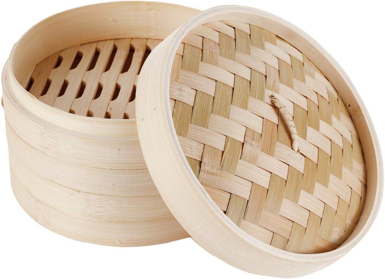 HANHAN Vaporera de bambú natural, cesta de cocción a vapor con 2 niveles con tapa, ideal para raviolis, verduras y tamaño sum (24 cm)