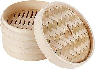HANHAN Cuiseur vapeur en bambou naturel, panier vapeur à vapeur 2 niveaux avec couvercle, idéal pour les avions, légumes e...