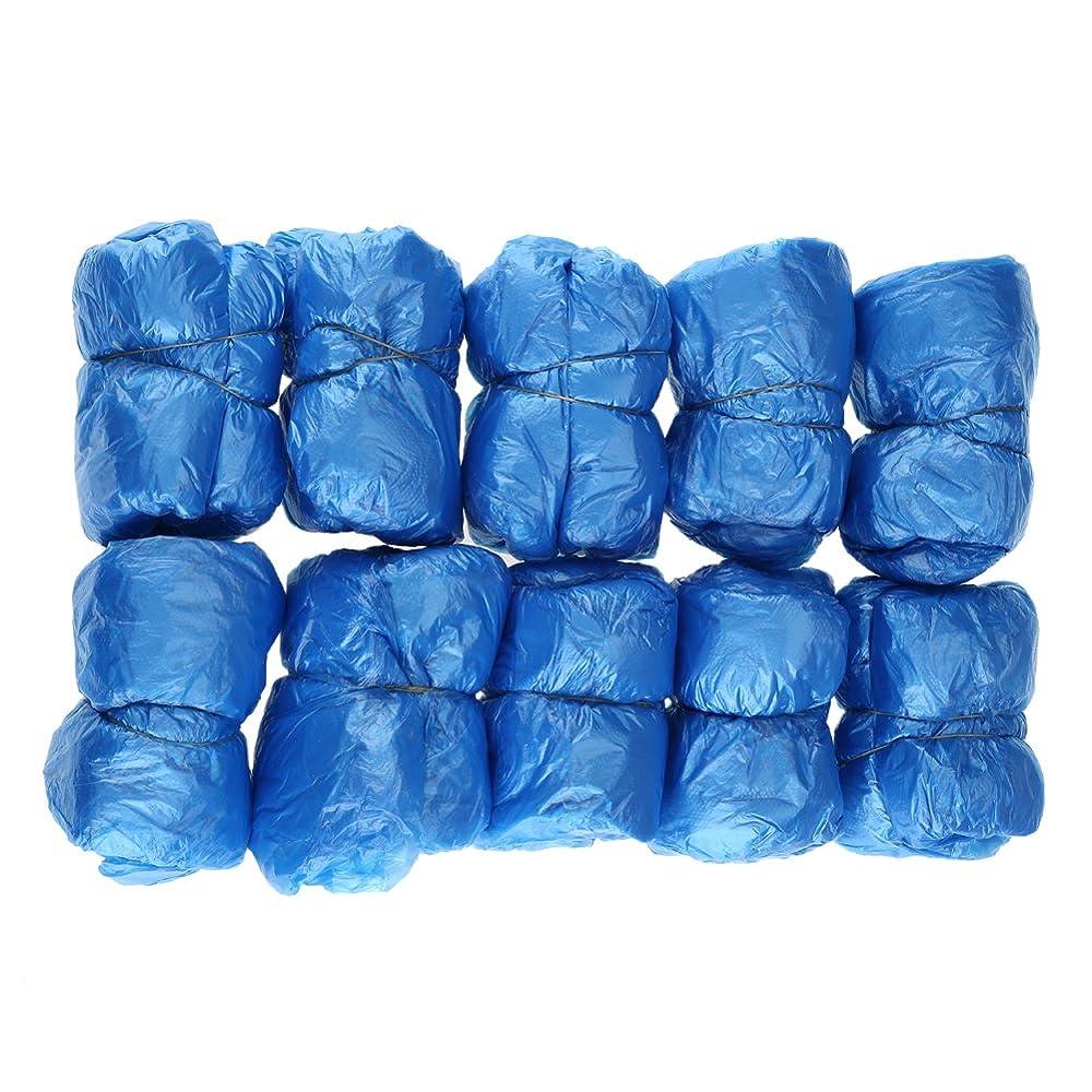 億バルブ比較100枚入 使い捨て靴カバー シューズカバー 靴カバー サイズフリー簡単 便利 衛生 家庭用品 ブルー