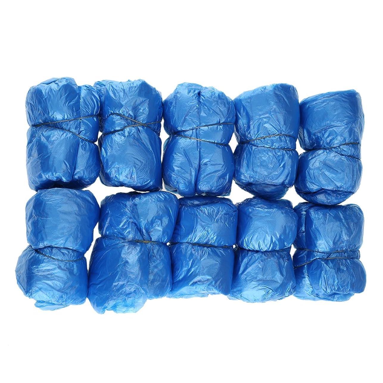 レタスフィヨルド義務づける100枚入 使い捨て靴カバー シューズカバー 靴カバー サイズフリー簡単 便利 衛生 家庭用品 ブルー