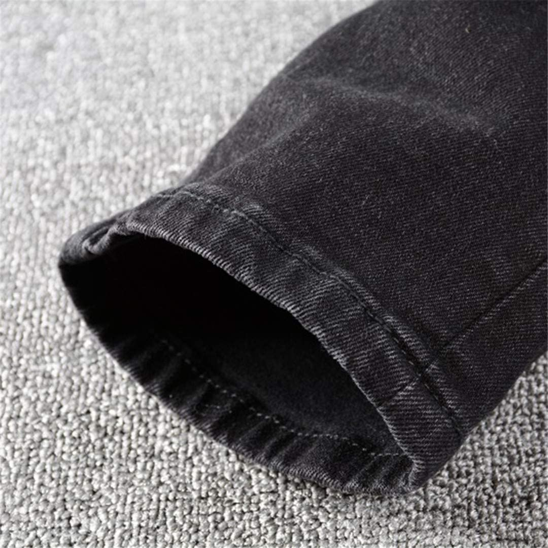 NDLENG Jean de Motard Noir déchiré par Patchwork plissé pour Homme Noir