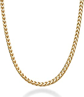 Miabella Solid 18K Gold Over Sterling Silver Italian 2.5mm Franco Square Box Link Chain Necklace for Men Women 16, 18, 20, 22, 24, 26, 30 Inch 925 Made in Italy