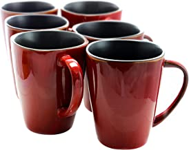 Elama Harland 6 Piece Luxe and Large Dinner Mug, 14 oz, Red