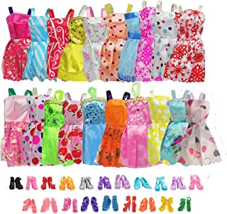 20 Pack Party Gown Outfits Dresses with 20 Pairs Doll Shoes for Barbie Doll Girl`s Birthday Fashion Handmade Evening Party