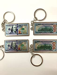 Set of 12 100 Hundred Dollar Bill Keychain USA Patriotic Souvenir Gift with Organza Gift Bag / Gift for Man/ Party Favor/funny Gift