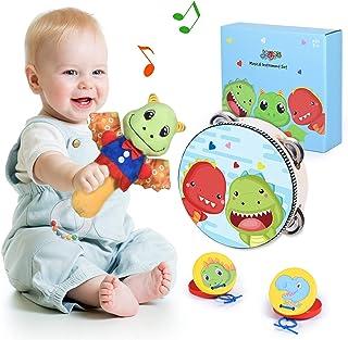 Joyjoz Instrumentos Musicales Bebé Sonajeros Niños Tambor Infantil Juguetes Musicales de Madera Castañuelas Bateria Musica...