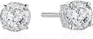 Certified 14k Gold Diamond Stud Earrings – J-K Color, I2 Clarity, White or Yellow Gold