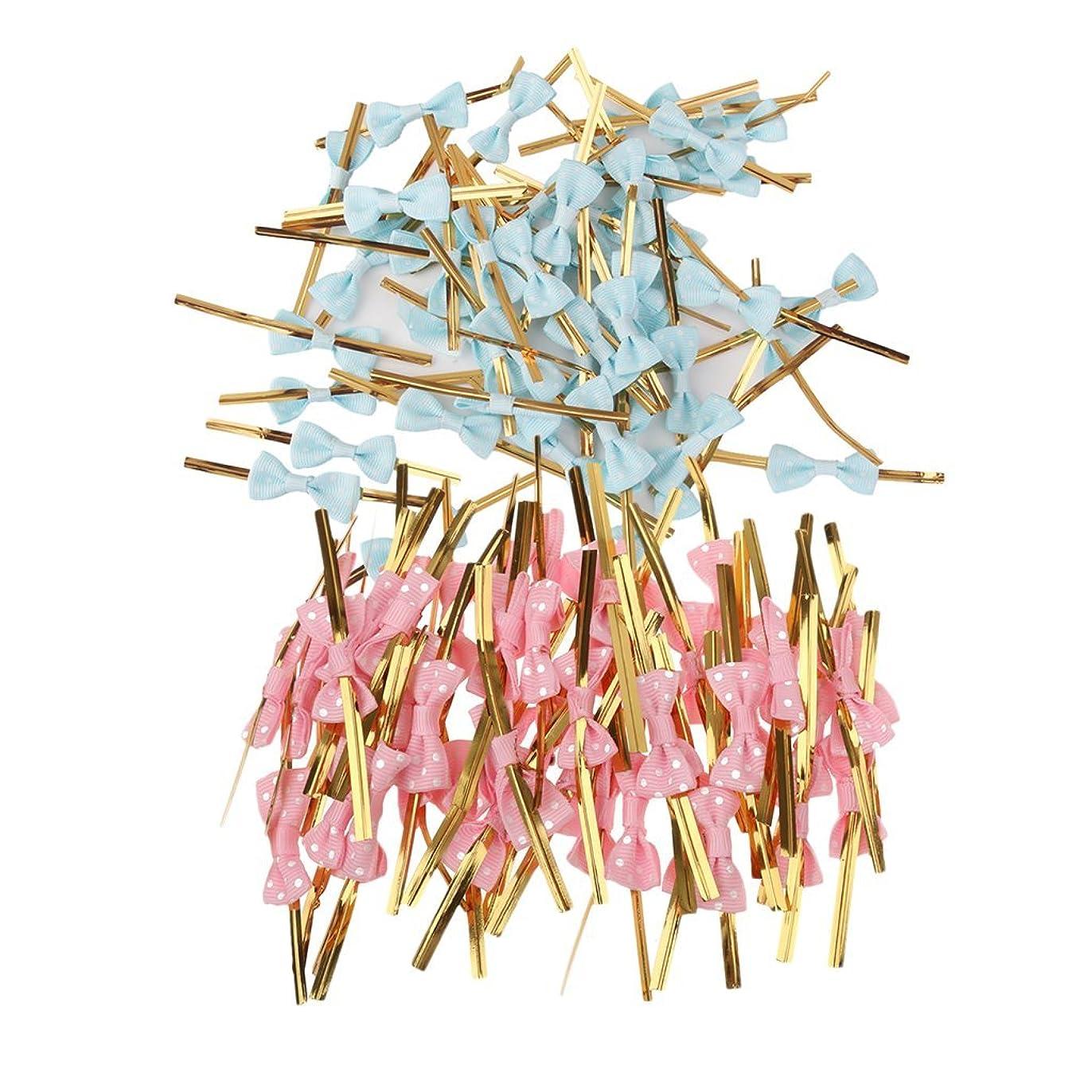 タイマー劇作家逆説Baosity ツイストネクタイ ちょう結び メタリック キャンディバッグ ケーキポップスバッグ 装飾 約100個入り ブルー&ピンク