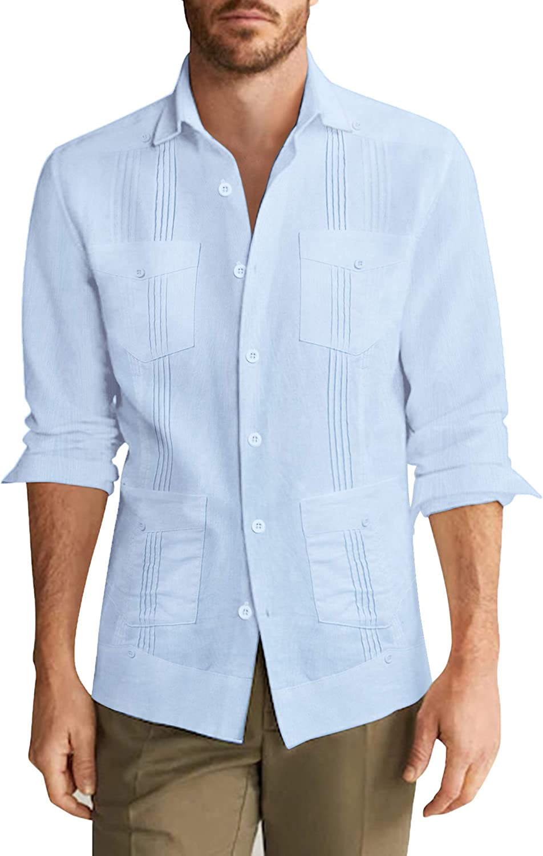 COOFANDY Men's Long Sleeve Cuban Casual Reservation Button D Guayabera Shirt Seattle Mall