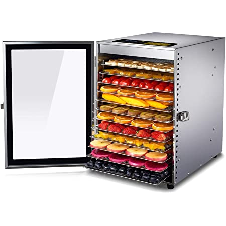 Colzer Food Dehydrator 12 Stainless Steel Trays, Food Dryer for Fruit, Meat, Beef, Jerky, Herbs, with Adjustable Timer and Temperature Control