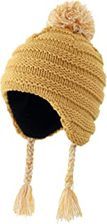 Home Prefer Toddler Girls Boys Knit Kids Hat Sherpa Lined Winter Cap with Earflap Beanie Yellow M
