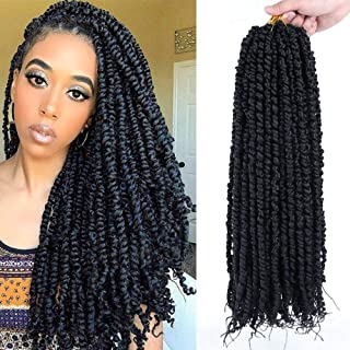6 Packs Pre-twisted Passion Twist Hair 18 Inch Pre-looped Passion Crochet Hair for Black Women Pretwisted Synthetic Braidi...