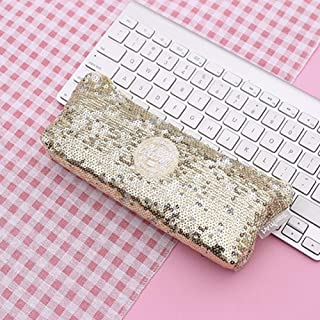 FairOnly Sequins Inverted Trapezoidal Shape Pencil Case for Stationery File Storage Gold