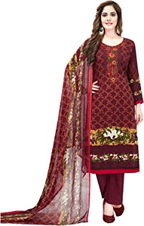 Ishin Synthetic Maroon Printed Women's Unstitched Salwar Suits dress material with Dupatta