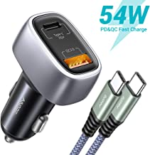 USB C Car Charger, AINOPE Total 54W Dual Port PD+QC3.0 Fast Charge Car Charger Adapter 36W Type C Cigarette Lighter USB Charger Compatible for Samsung/iPhone/iPad Pro/MacBook, with 3.3ft Type C Cord