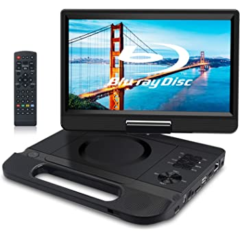 FANGOR 10.1 Inch Portable Blu-Ray DVD Player with Rechargeable Battery, Support USB/SD Card, HDMI Out & AV in, Snyc Screen, 1080P Video, Dolby Audio, Last Memory(Black)