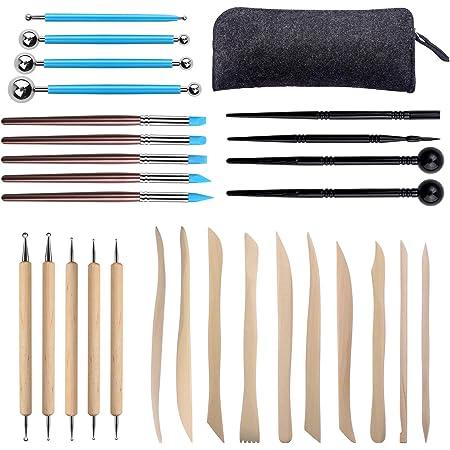 Aokyom 28 PCS Outils de Sculpture, Ensemble D'outils en Argile Outil de Poterie Kit Sculpture Outils en Argile Polymère pour Sculpture Argile,Peinture sur Roche,pâte à Modeler,Gaufrage,Nail Art DIY