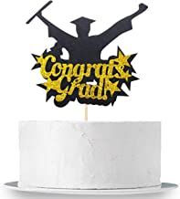 Congrats Grad Graduation Cake Topper - Black and Gold, Real Glitter | Grad Jumping with Joy of Scuess | Graduation Cake Toppers 2019 - Graduation Cake Decorations - Graduation Party Supplies 2019