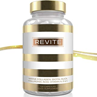 REVITE Marine Collagen 2000mg Capsules with Hyaluronic Acid, Silica, Biotin, Vitamin A, E & C Type I & III Supplement for Hair, Skin & Nails Wild Caught Fish Collagen Peptides – Non GMO