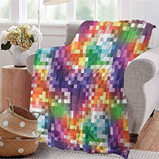 Luoiaax Colorful Bedding Microfiber Blanket Mosaic Rainbow Colored Checkered Squares Abstract Pixel Art Inspired Illustration Super Soft and Comfortable Luxury Bed Blanket W70 x L84 Inch Multicolor