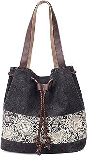 YOUBAMI Tote Bag for Women, Canvas Printing Drawstring Weaving Harness Pocket Casual Multifunctional Duffel Carrying Lapto...
