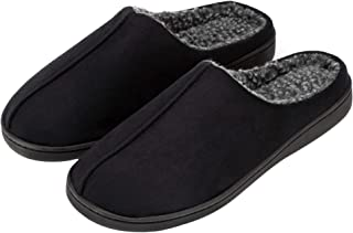 FUNKYMONKEY Men's Comfort Indoor Slippers Suede Berber Fleece Lined Anti-Skid House Shoes