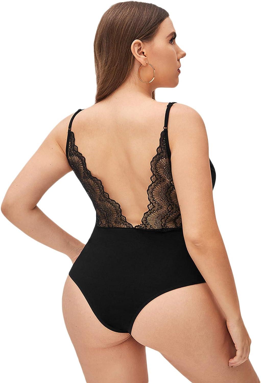 Romwe Women's Plus Size Sleeveless V Meck Lace Trim Backless Cami Bodysuit Tops