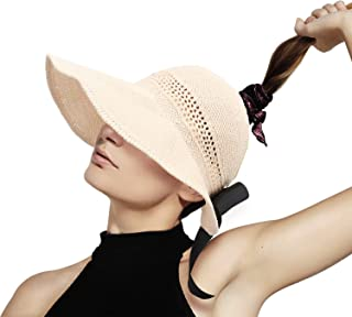 mysuntown Women's Summer Sun Beach Straw Hat Foldable Straw Sun Visor Hat with Cute Bowtie