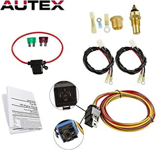 AUTEX NEW Dual Electric Cooling Fan 185 Degree On 165 Off Engine Fan Thermostat Temperature Switch 40/50 amp Relay Kit
