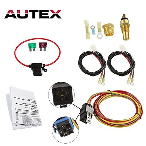 AUTEX NEW Dual Electric Cooling Fan 185 Degree On 165 Off Engine Fan Thermostat Temperature Switch