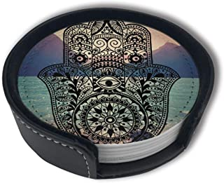 Evil Eyes Ham Hand Coasters, (6PCS) Premium PU Leather Coasters, Drink Round Coasters With Holder Sets, Protect Your Furniture From Stains, Water Marks, Scratch£¬Suitable For Home And Kitchen¡£