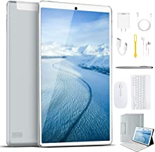 Tablet 10 Inch, Android 9.0 Pie Tablets with Wireless Keyboard Case and Mouse, 3GB RAM 64GB ROM, Quad Core, Google GMS Certified, IPS HD Display, 8MP Dual Camera, Dual 4G SIM, 8000mAh, WiFi - Silver