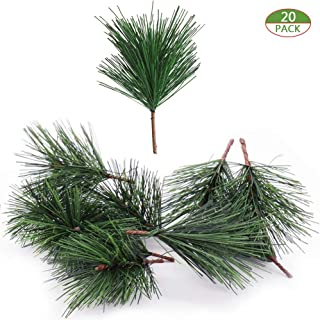 Shxstore-1 Artificial Green Pine Needles Branches Small Pine Twigs Stems Picks for Christmas Flower Arrangements Wreaths and Holiday Decorations, 20 Branch