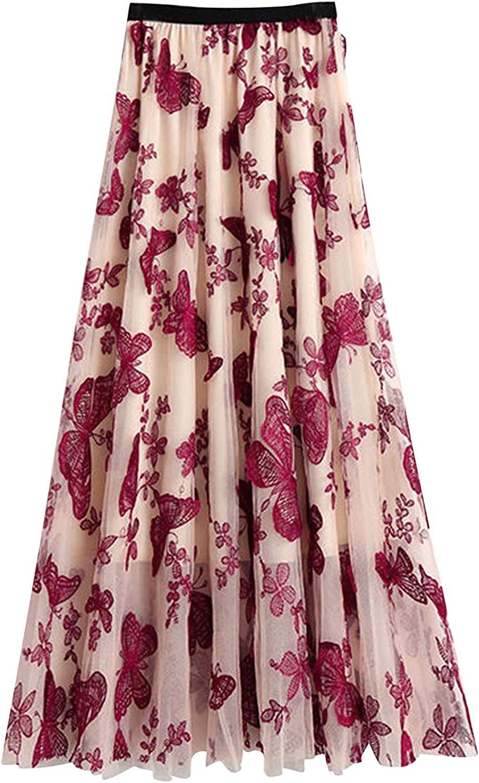 Bravetoshop Womens Tutu Tulle Skirt High Waist Layered Floral Printed A-Line Skirts Mesh Midi Skirt