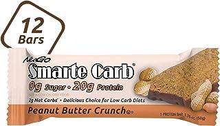 NuGo Smarte Carb Peanut Butter Crunch, 20g Protein, 0g Sugar, 2g Net Carbs, 160 Calories, 12 Count, Brown,
