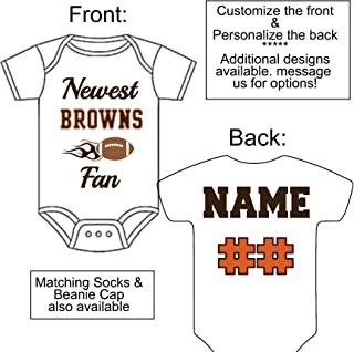 Personalized Custom Made Newest Browns Fan Football Gerber Onesie Jersey - Baby Announcement Reveal or Shower Gift