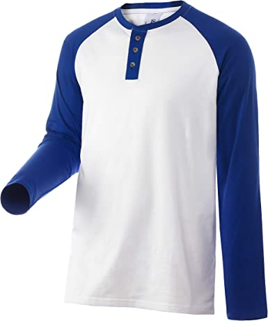 Camiseta Casual Henley con 3 Botones Manga Raglan Larga Colors Contraste de Algodón Hombres Mujeres