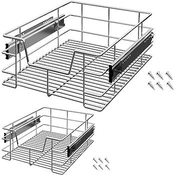 2x Teleskop Küchen Schublade Küchenschublade für 50 cm Schränke Korbauszug Regal